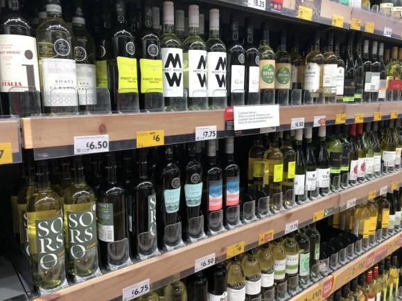 shelf full of wine