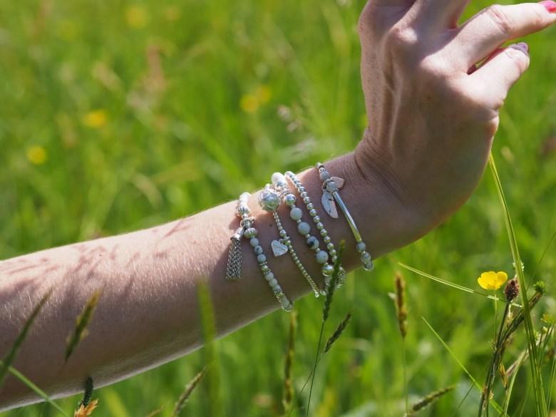 white stacking bracelets