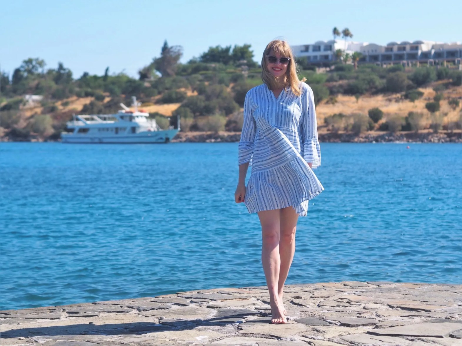Holiday outfits: blue striped dress