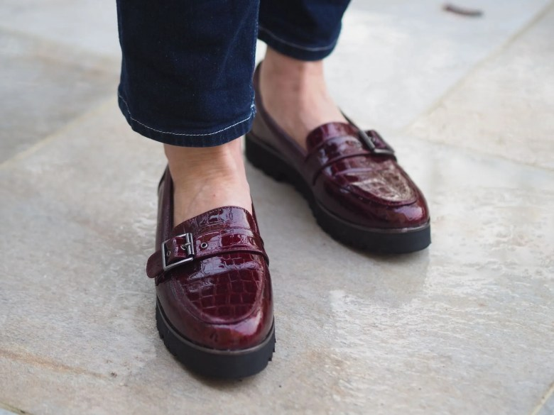 burgundy patent chunky loafers