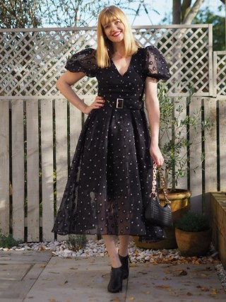 Coast puff sleeve black and white organza dress