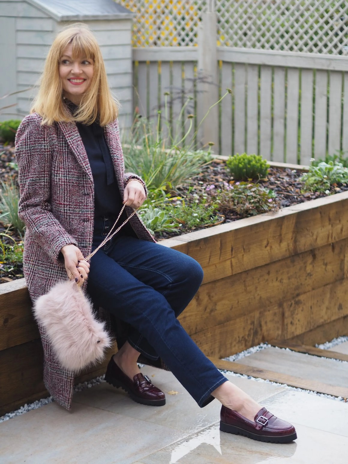 mock-croc loafers and tweed coat outfit