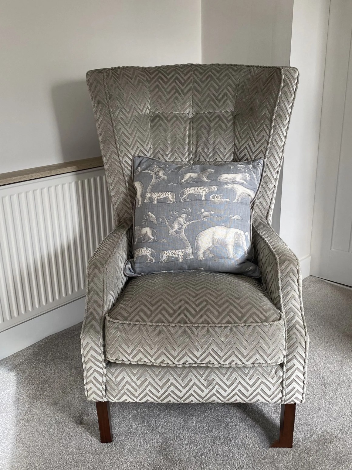 throne chair and Andrew Martin cushion
