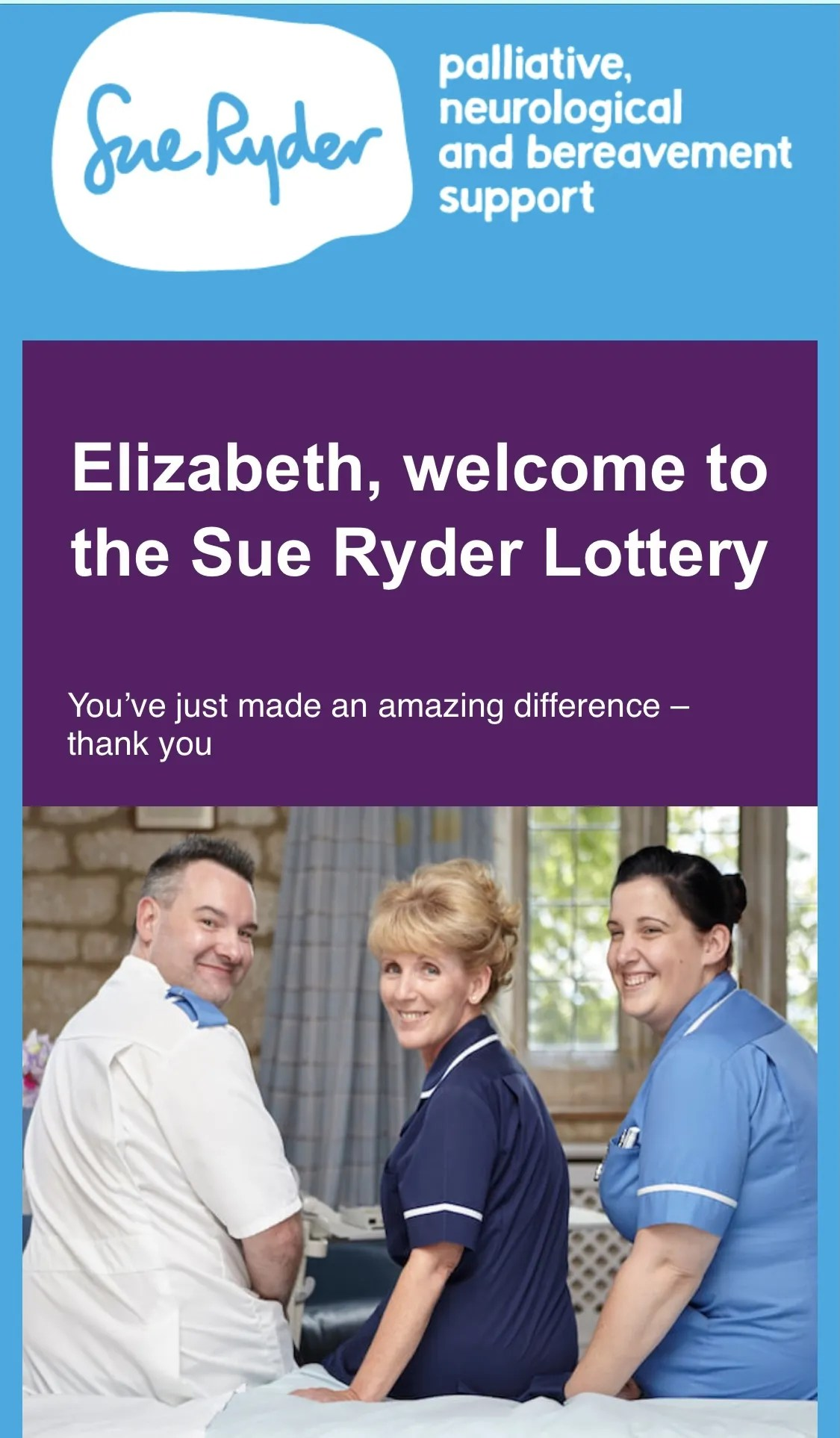 sue ryder charity lottery