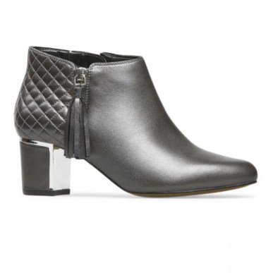 pewter metallic ankle boot with block heel and quilt detail