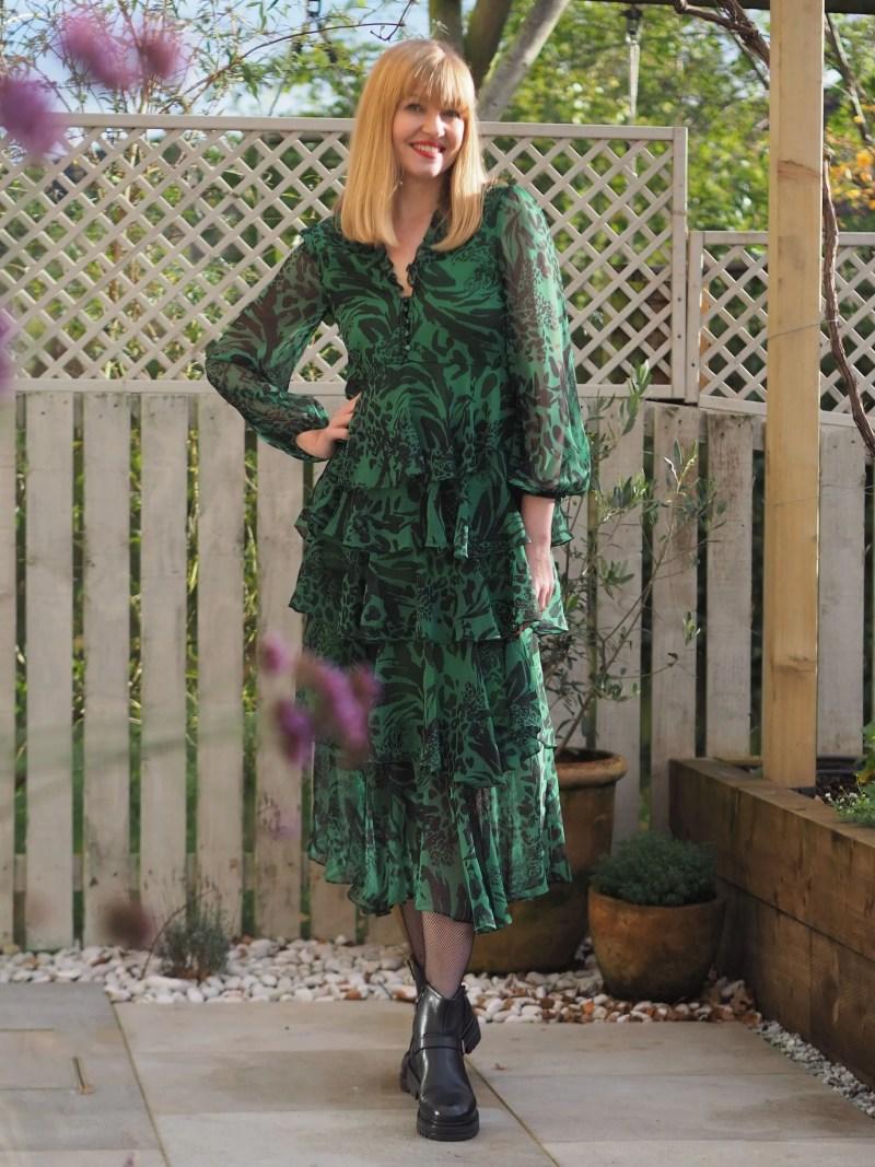 Coast green ruffle midi dress