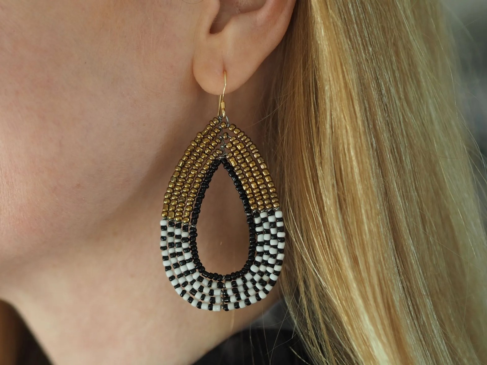 black and white large african beaded earrings