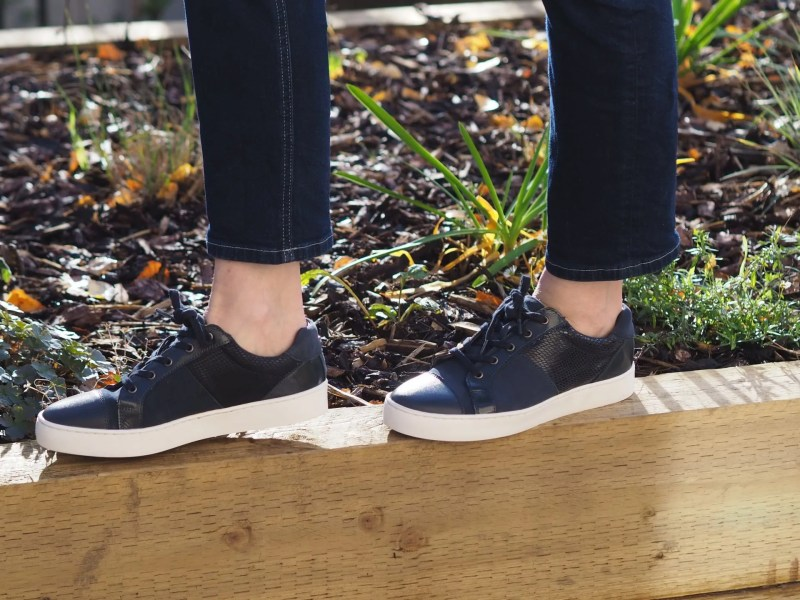 sherylyn navy leather trainers by Stressless at Lotus