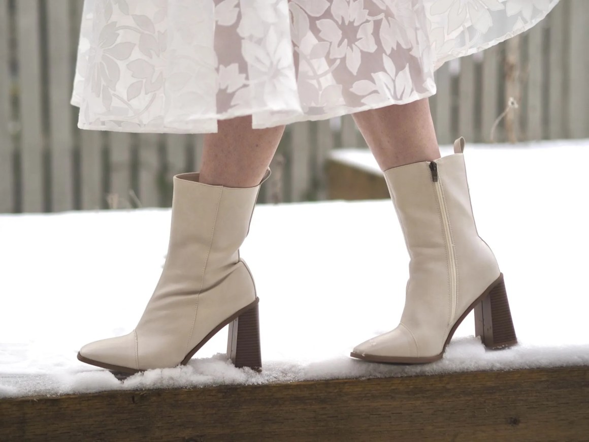ivory ankle boots with contrasting brown heel
