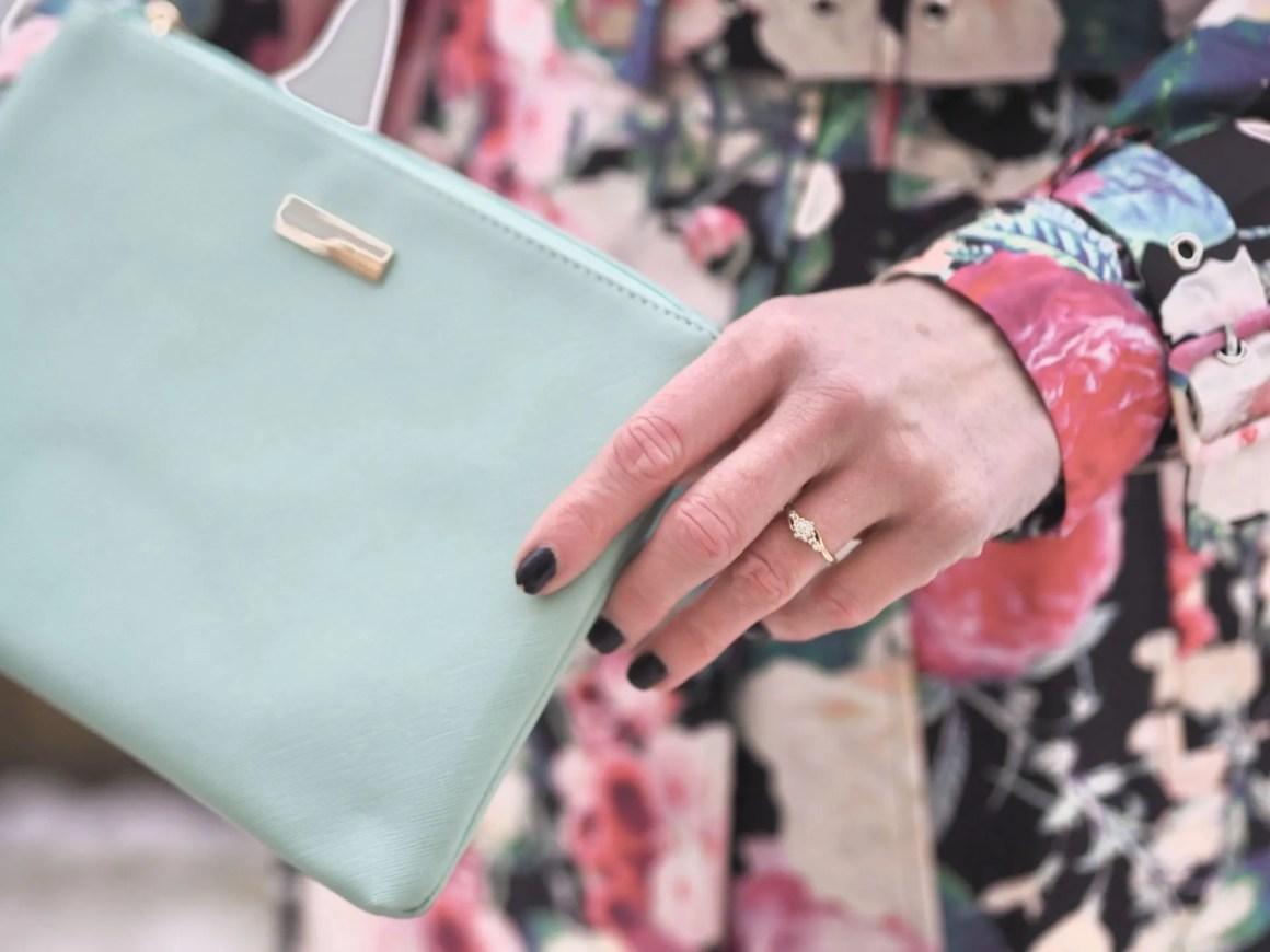 mint green envelope clutch bag