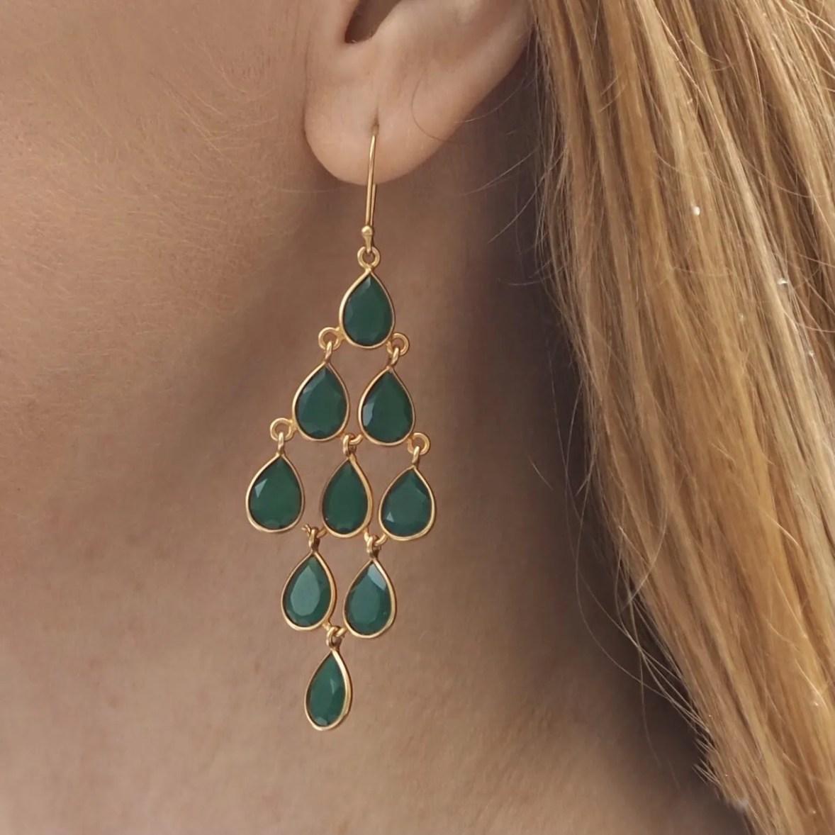 milina london green onyx chandelier earrings