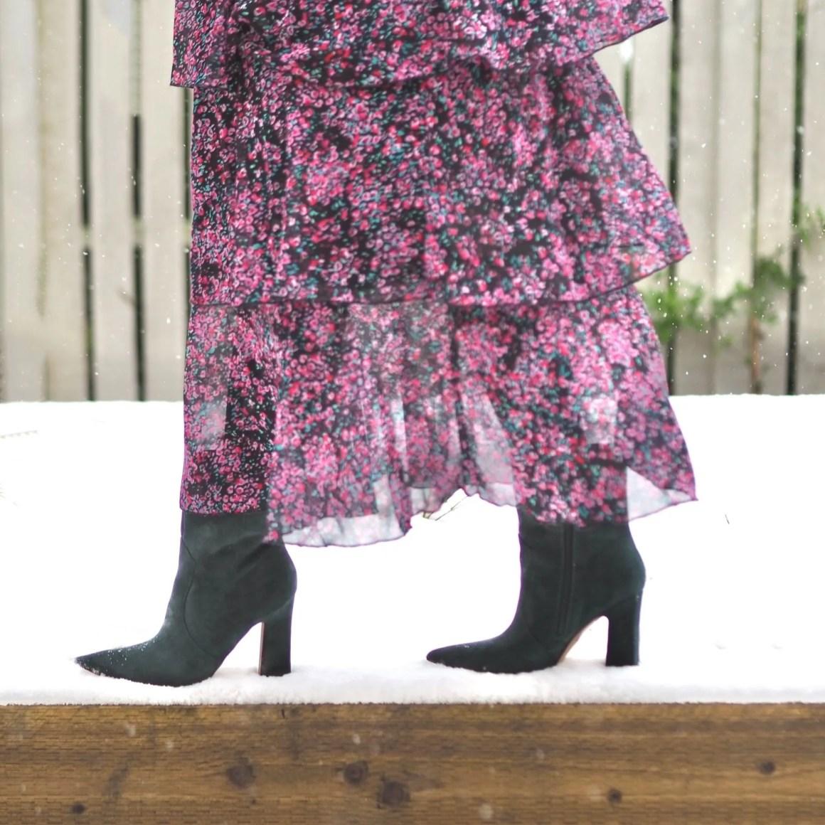 green suede block heel ankle boots