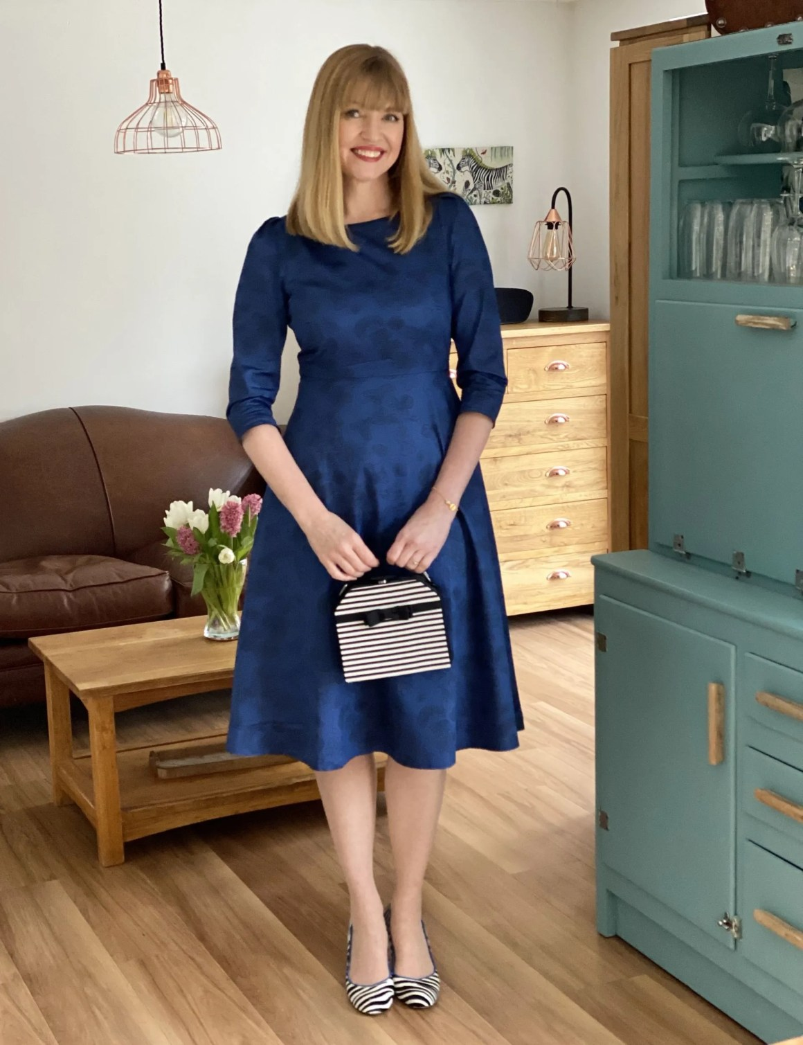 ladylike dressing blue fit and flare dress