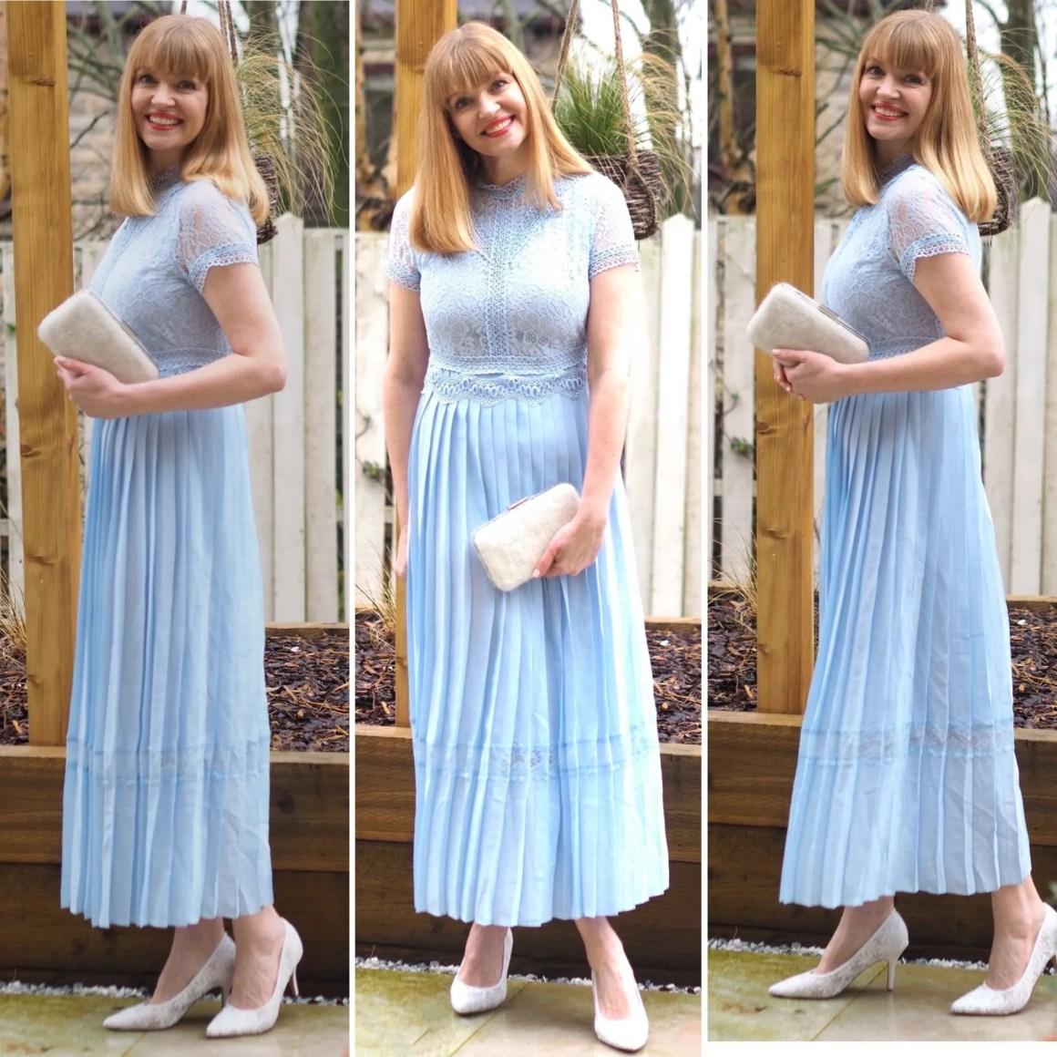 Ice blue lace bodice dress