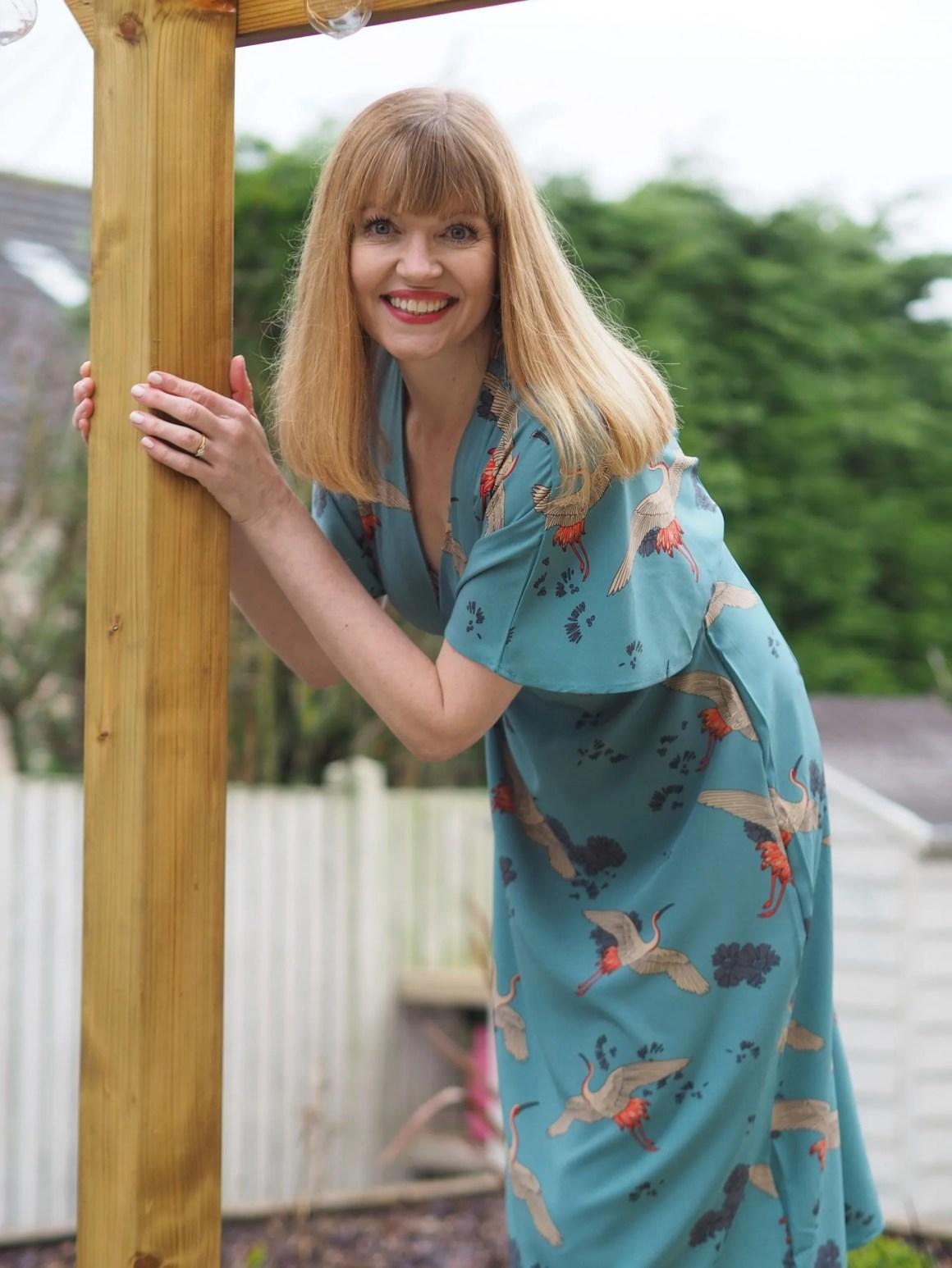 crane print kimono dress with ivory ankle boots