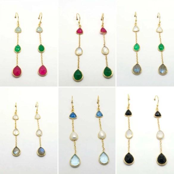 Delicate drop gemstone earrings