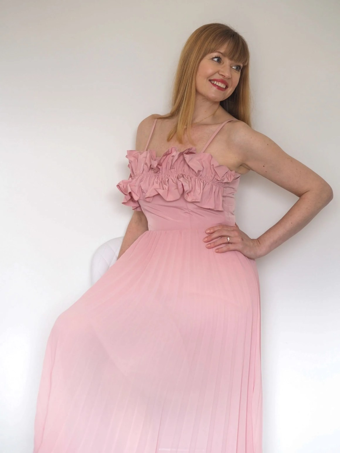 pink ruffle bodice pleated midi dress