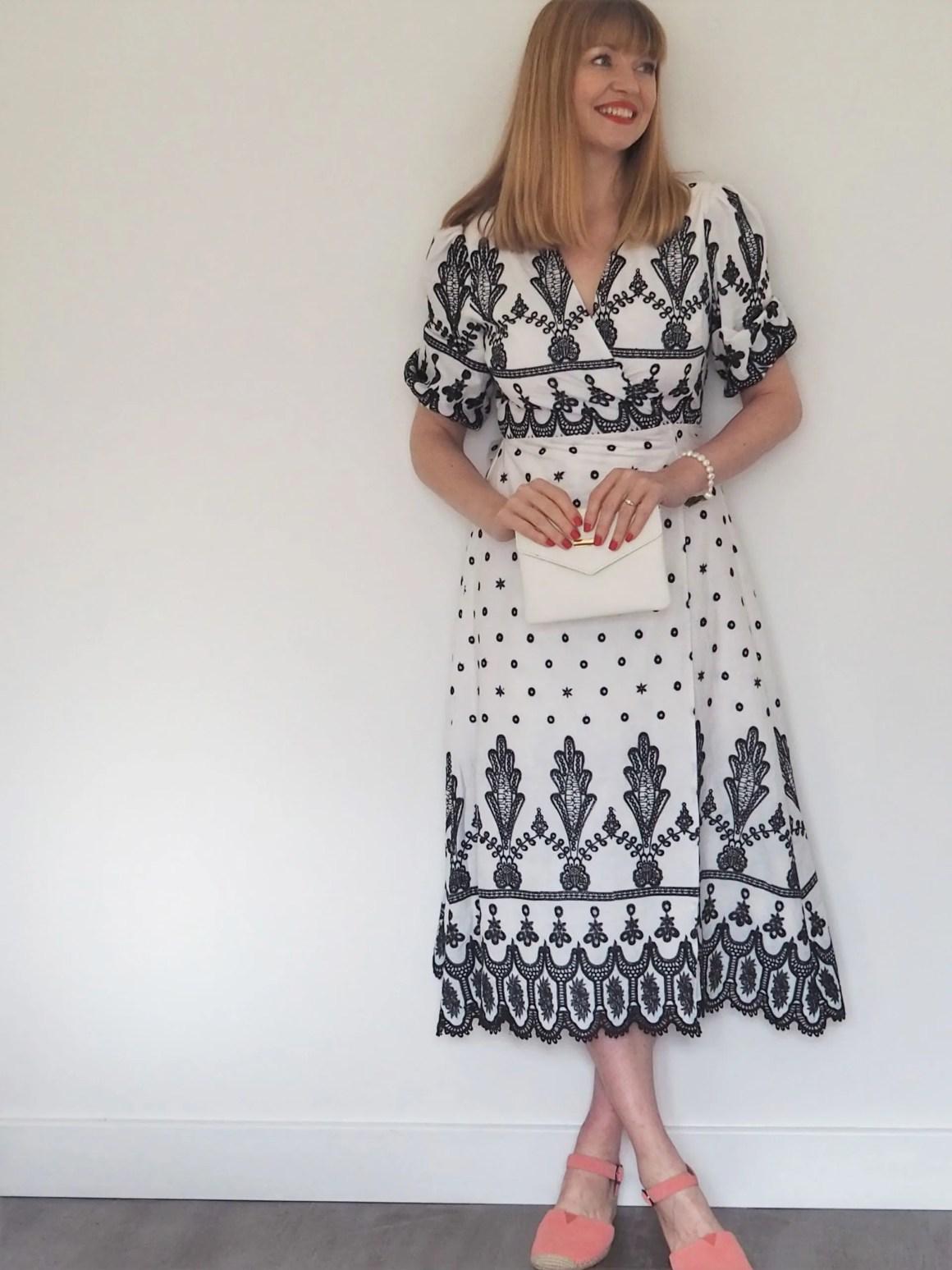 white and black broderie wrap midi dress
