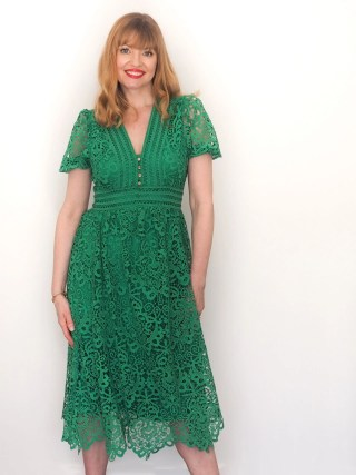 Green cut-work lace midi