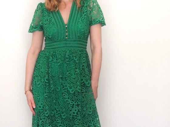 Green cut-work lace midi