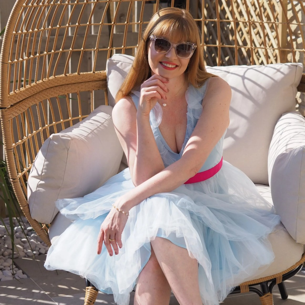 coast light blue tiered tulle dress with pink waistband