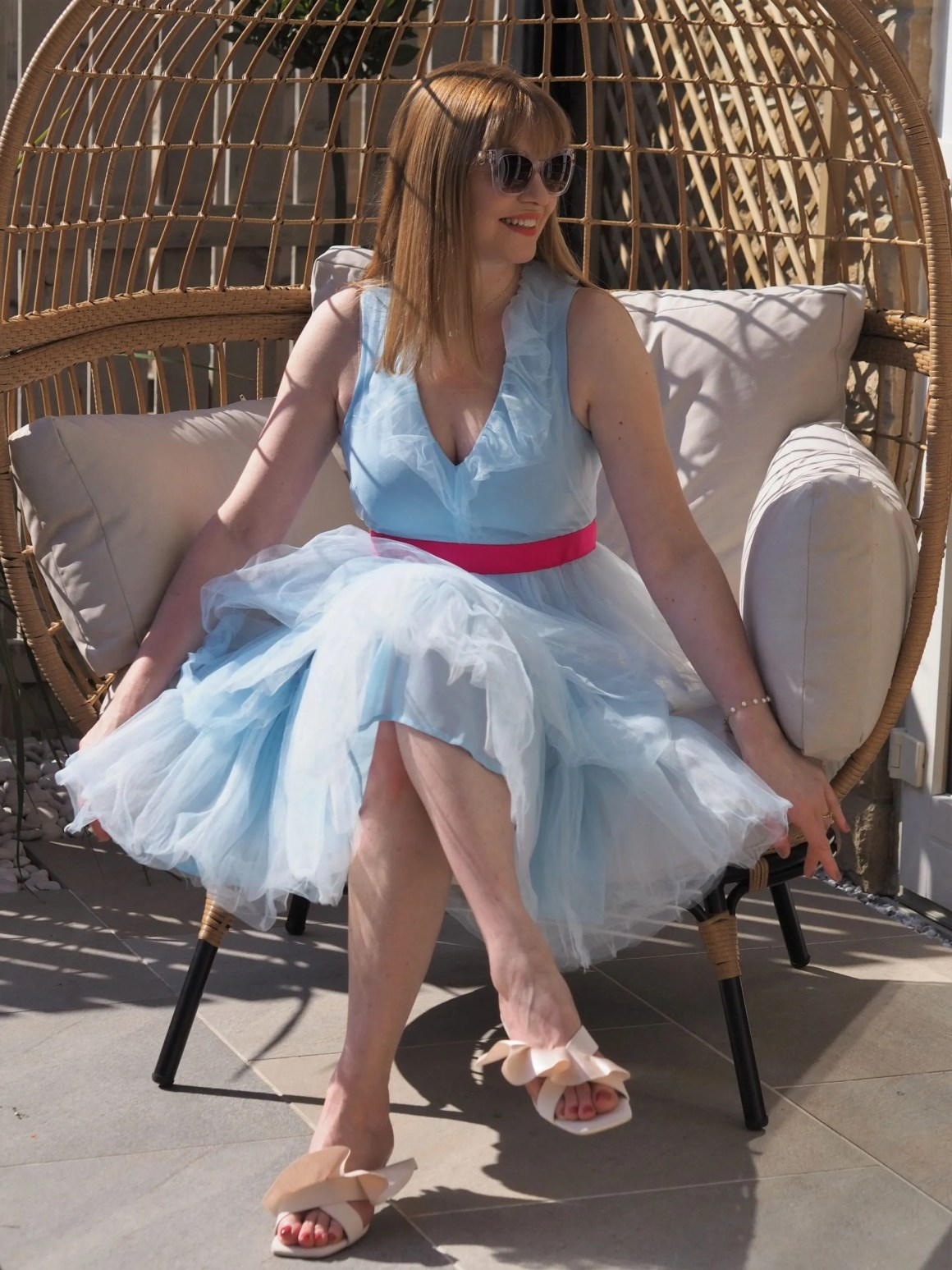 Coast tiered tulle dress in light blue with hot pink belt