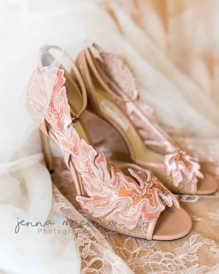 Jimmy Choo nude lace wedding shoes