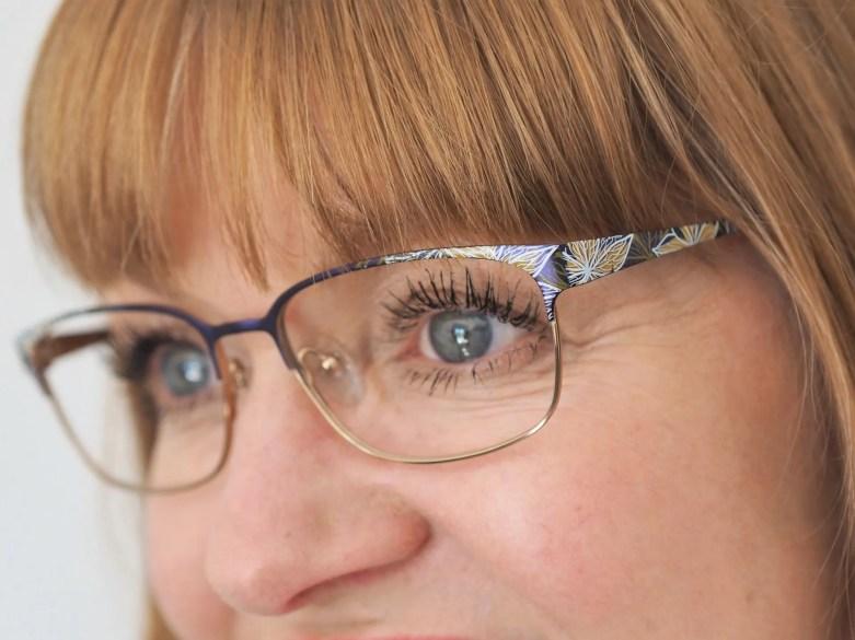 STEPPER eyewear titanium eyewear with multi-coloured detail at the temple