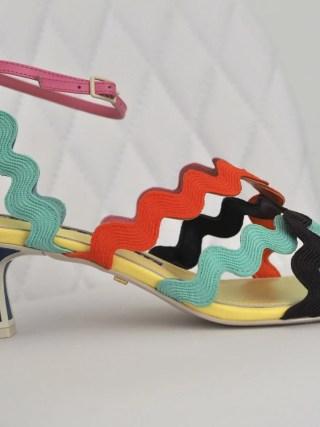Kat Maconie Esta multi coloured kitten heel sandal