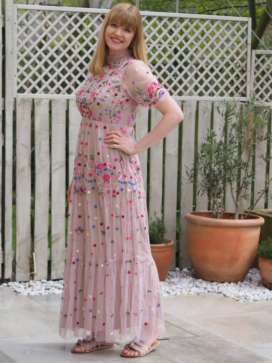 floral embroidered maxi dress with greek flat sandals