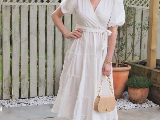 white tiered cotton poplin dress option for hen party outfit
