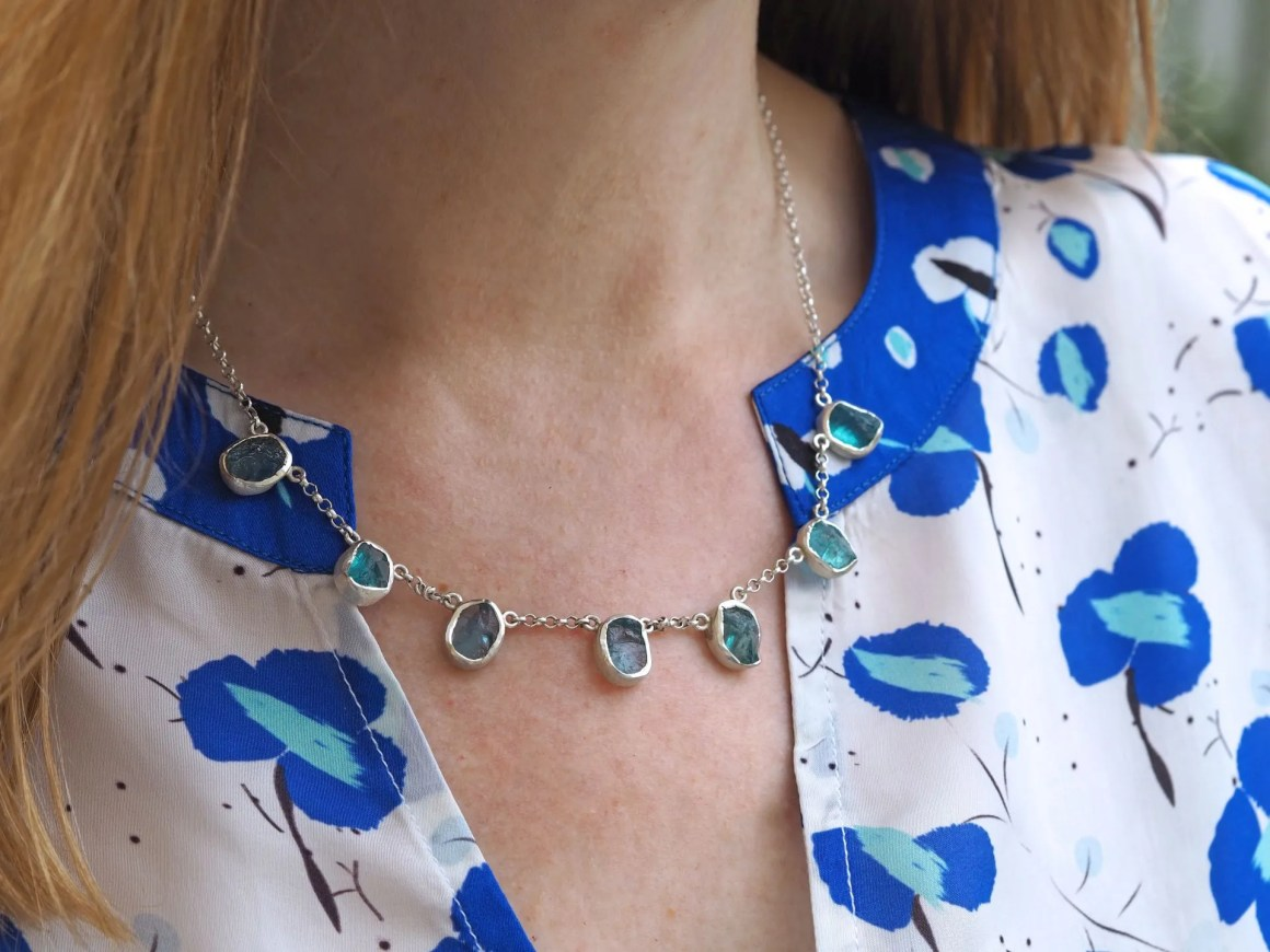 rough cut apatite necklace