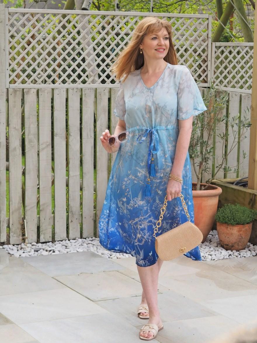blue ombre cupro botanical print beach dress