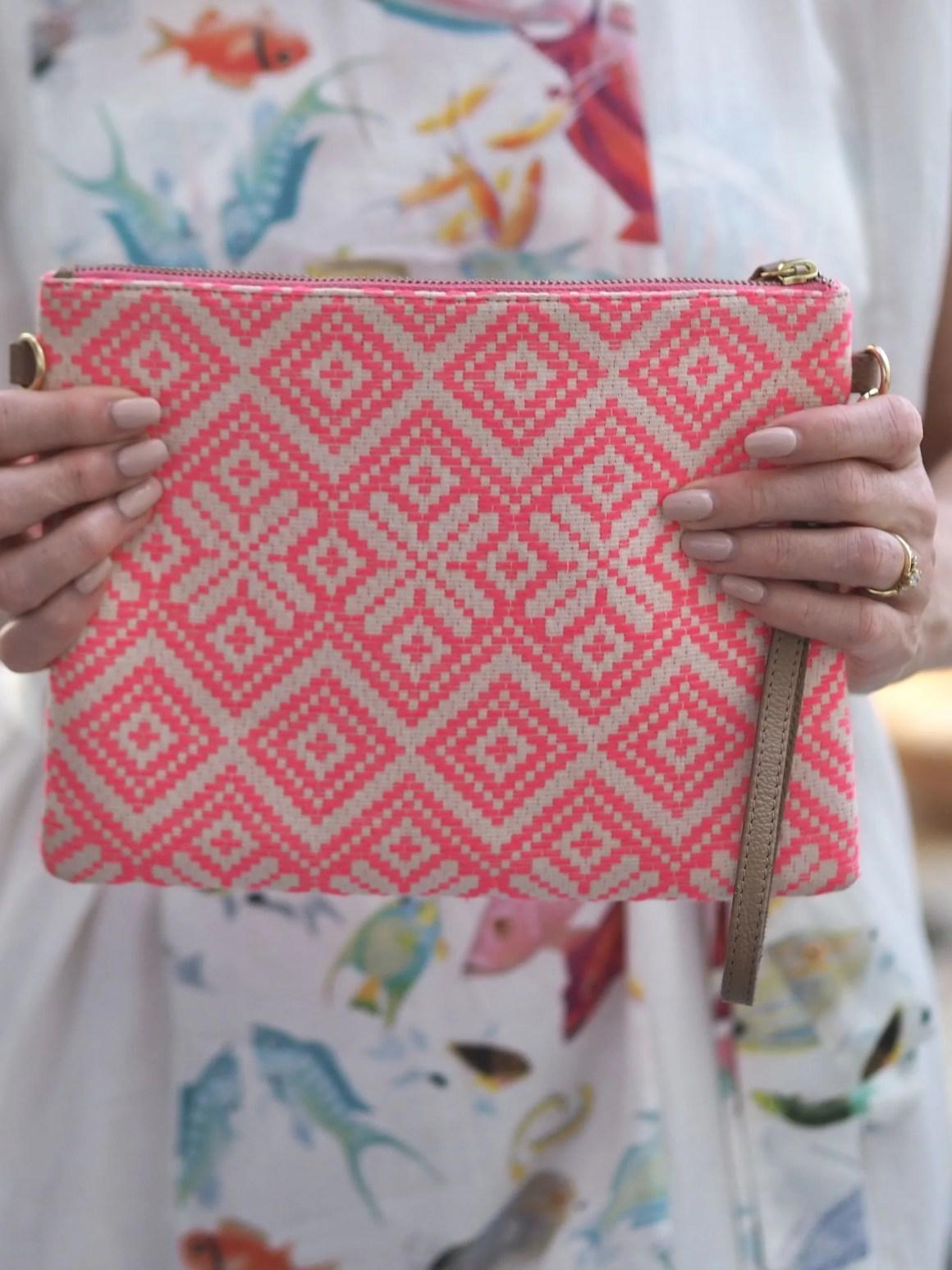Aspiga coral fabric clutch