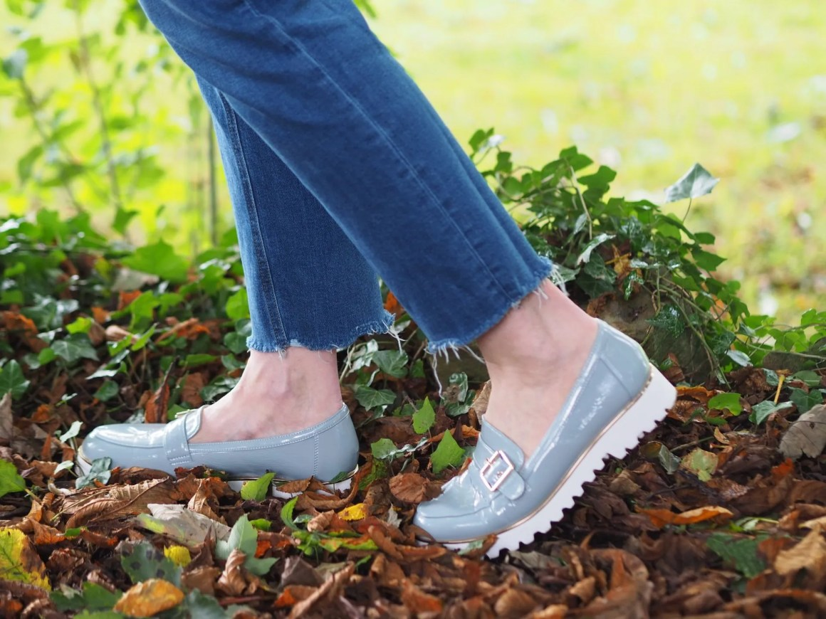 Lotus pale blue patent loafers with white chunky sole