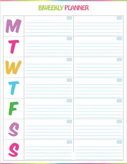 Free Printable Bi Weekly Planner Cute Colorful Template