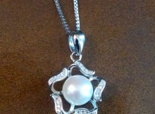 Startreasureland Silver Pendant Necklace with 8mm White Freshwater Cultured Pearl