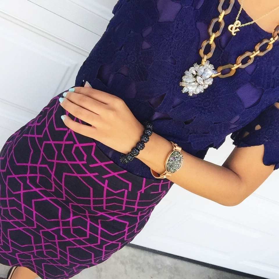 charlotte russe lace dress worn as blouse + j crew factory pencil skirt + very jane necklace + ampersand necklace c/o carrie grace shop + versona accessories' drusy cuff + diy bracelet