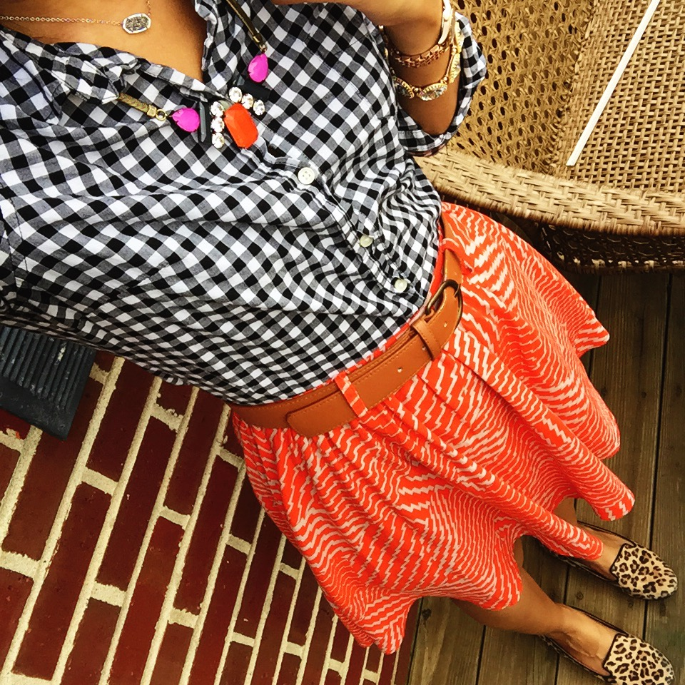 old navy gingham button down + loren hope necklace c/o rocksbox + kendra scott necklace c/o rocksbox + target skirt + target leopard print loafers