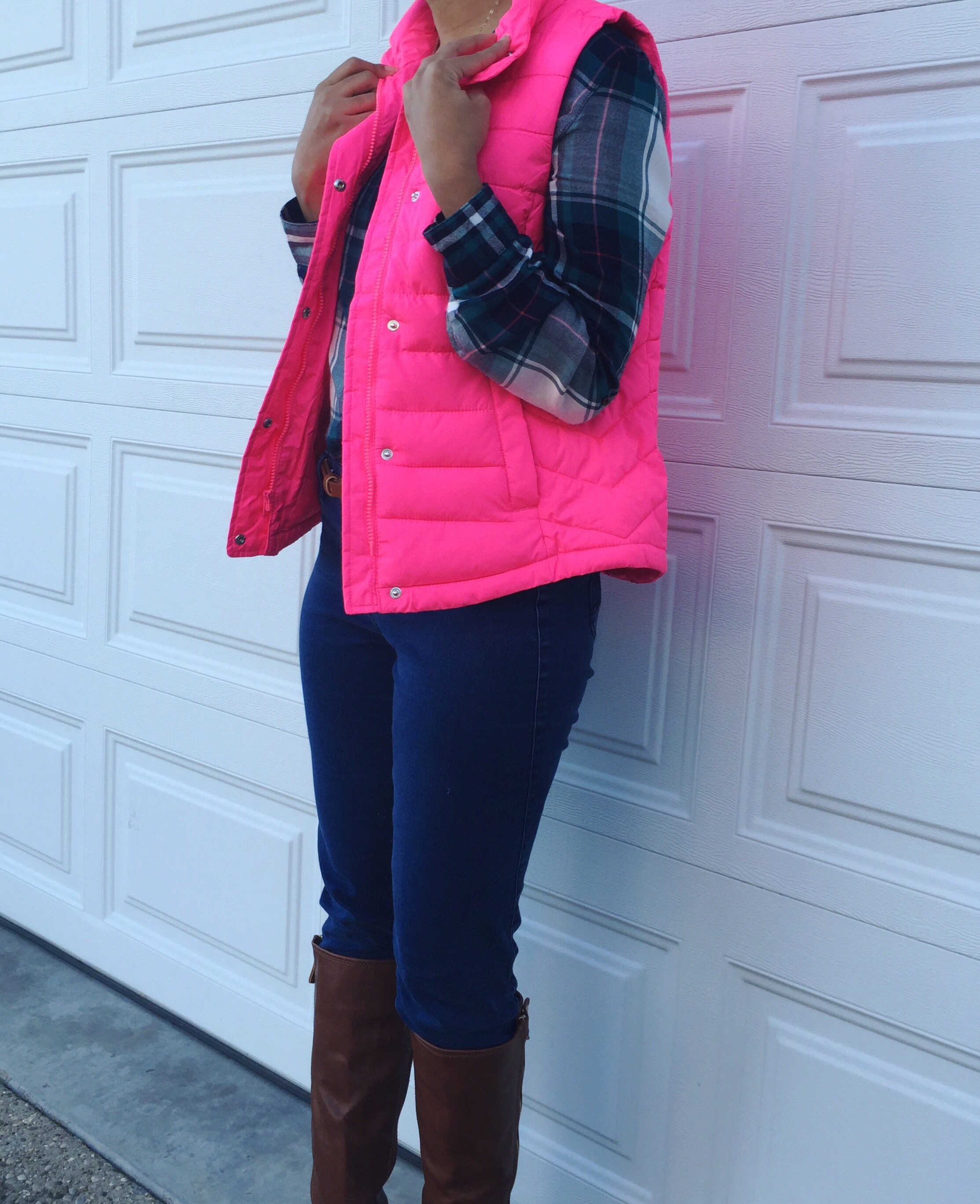 What Nicole Wore: Hot Pink Puffer Vest