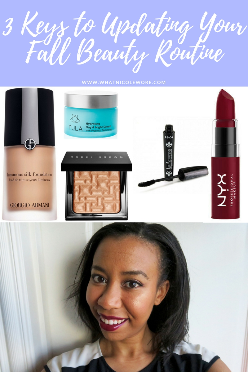 Southern blogger, What Nicole Wore, shares an easy way to update your fall beauty routine with products from Cos Bar, Goody's Beauty Bar, & NYX Cosmetics. // nyx cosmetics butter lipstick review, nyx butter lipstick moonlit night, bobbi brown highlighting powder on brown skin, tula day and night cream, fall makeup routine