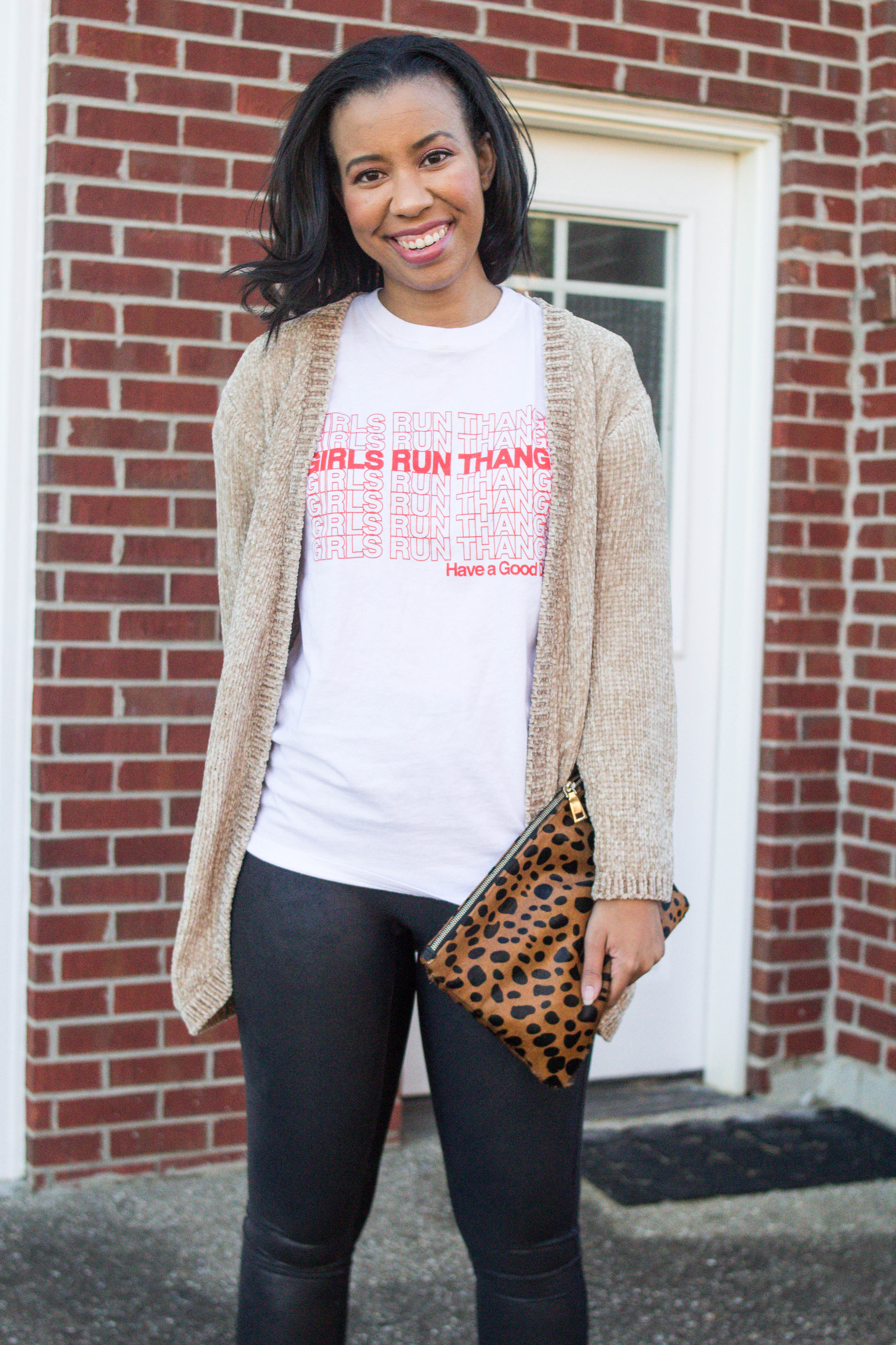 Popular Kentucky blogger, What Nicole Wore, shows how to take ten wardrobe staples and create twenty fall outfits with a fall capsule wardrobe. // feminist shirt, target style outfit, leopard clutch inspiration, leopard clutch dupe, buxom lip cream, spanx leggings outfit