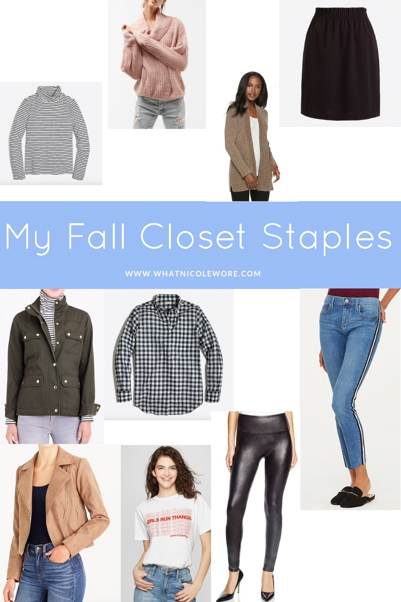 Popular Louisville blogger, What Nicole Wore, shows how to take ten wardrobe staples and create twenty fall outfits with a fall capsule wardrobe. // closet staples fall, wardrobe workhorse, best fall clothing, fall must have clothes