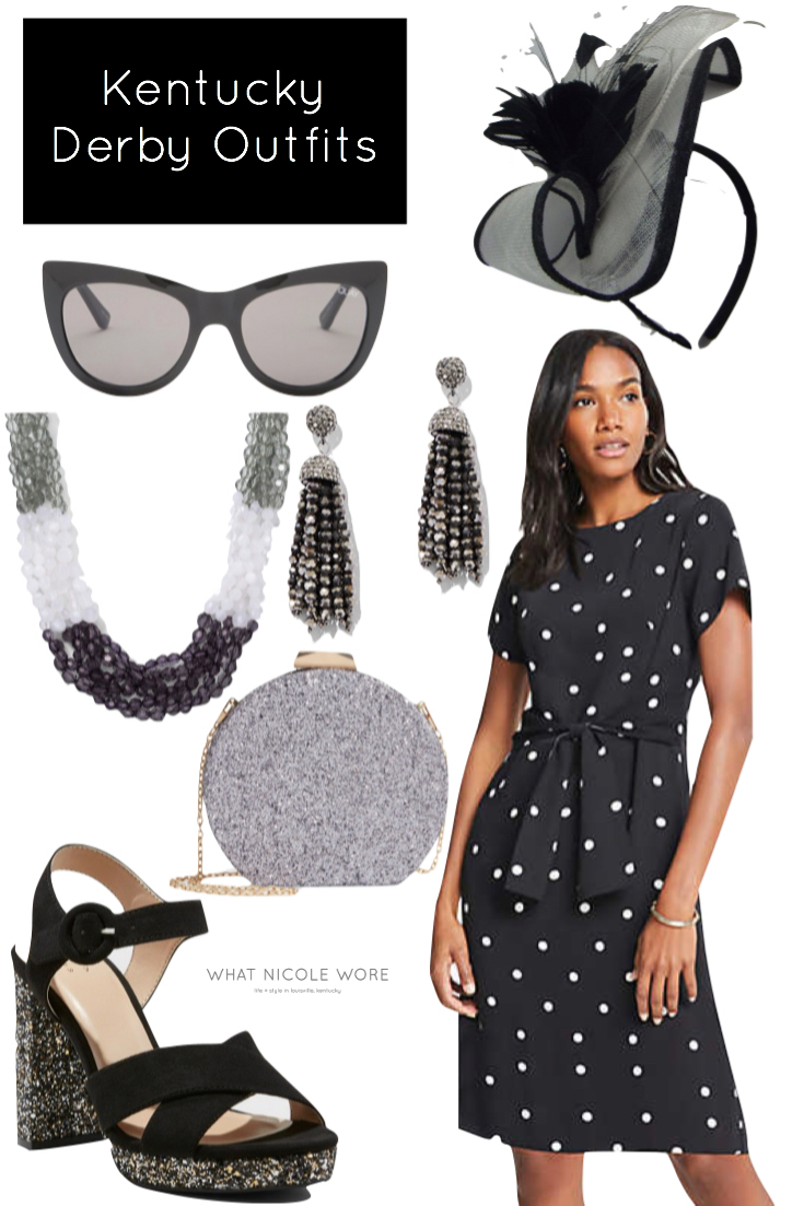 Louisville style blogger, What Nicole Wore, gives a number of affordable 2019 Kentucky Derby outfits that are perfect for spring occasions. // black and white dress, ann taylor outfit, quay sunglasses on sale, kentucky derby black dress outfit, polka dot dress outfit work ideas