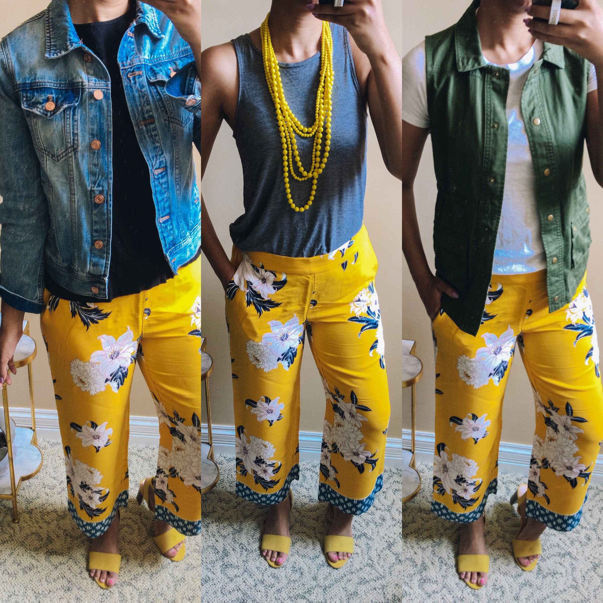 Popular style blogger, What Nicole Wore, shares three ways to wear floral pants. This guide to wide leg pants and how to style them is super helpful. // outfit ideas, yellow floral pants, wide leg pants outfits