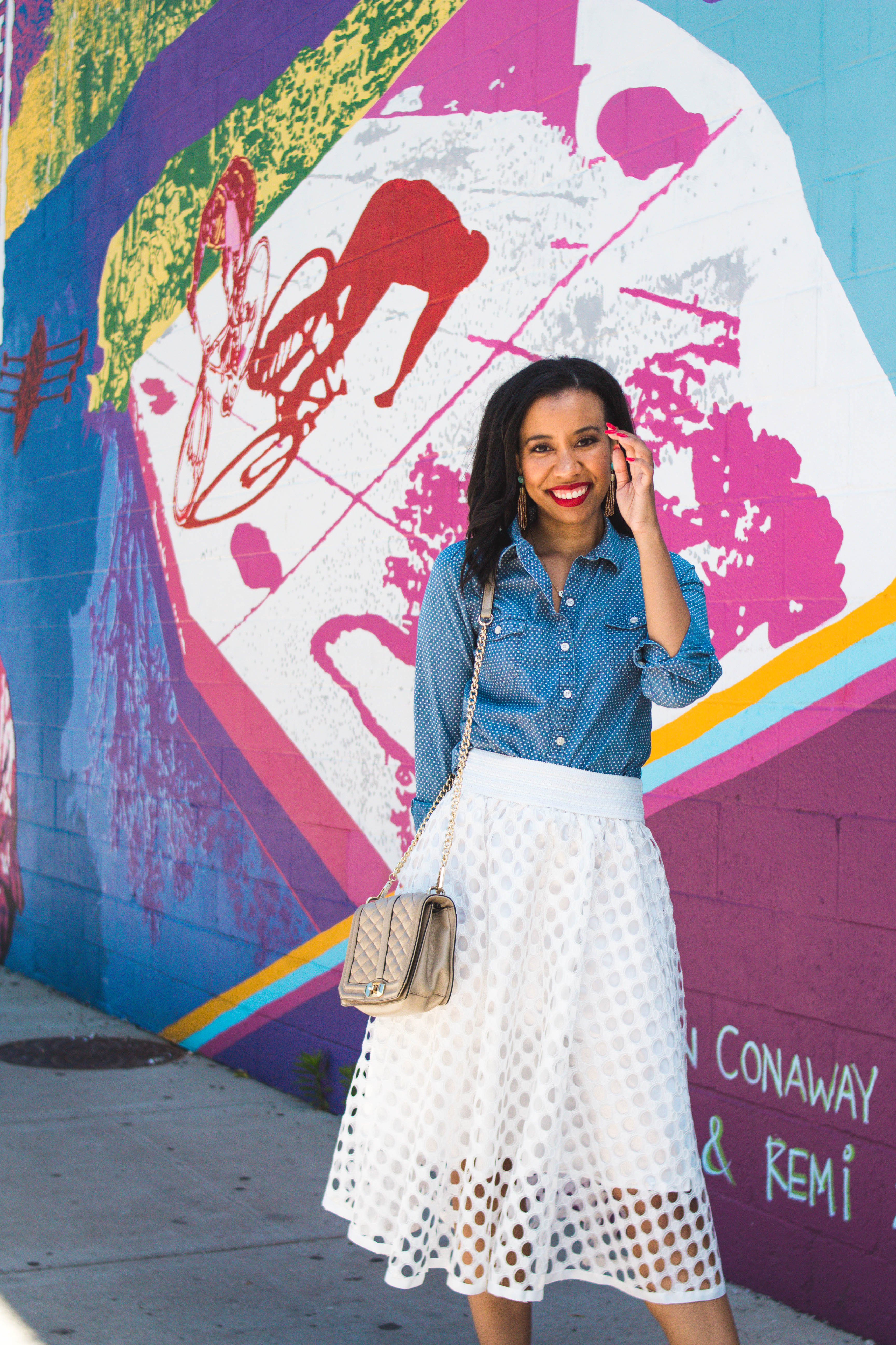 Have you ever tried dating apps? Lifestyle blogger, What Nicole Wore, shares what men needs to stop doing on their dating profiles. // opi nail polish, red nail polish, white midi skirt outfit, denim shirt outfit, rebecca minkoff crossbody bag, red lipstick on medium skin