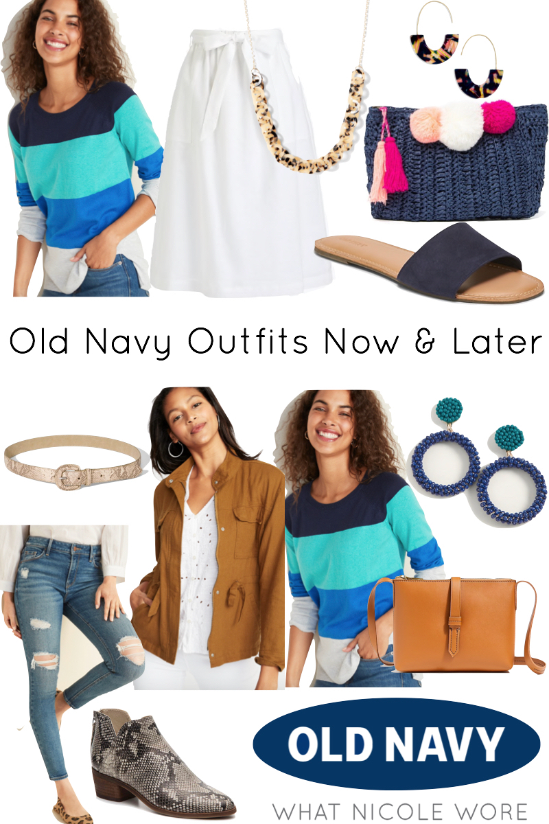 Popular style blogger, What Nicole Wore, shares sale Old Navy pieces that can take your wardrobe from summer to fall outfits. // colorblock sweater outfit, jcrew factory outfit summer 2019, old navy outfits, affordable fall outfits
