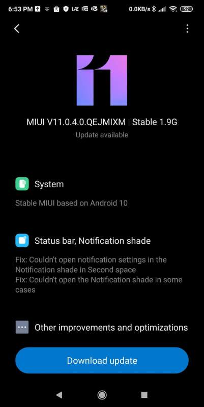 Pocophone F1 Android 10 Base Update (1)