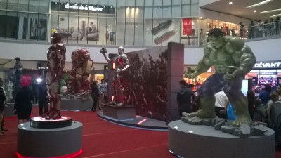 Life-Size display  (L-R) Capt. America, Iron Man, Hulk Buster, Ultron & The Hulk.