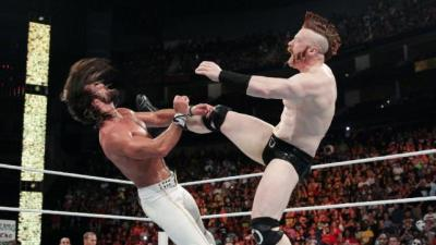 Sheamus Brogue Kick to Rollins